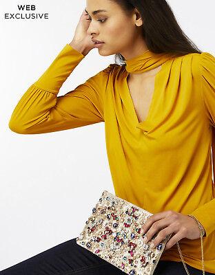 ACCESSORIZE Celine Gold Jewel Beads Clutch Bag Shoulder Chain Beaded Embellished