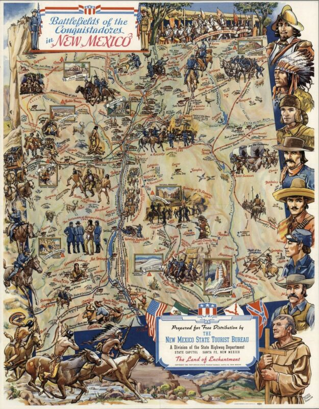 1942 PICTORIAL map Battles Conquistadors Indian Wars New Mexico POSTER 8262003