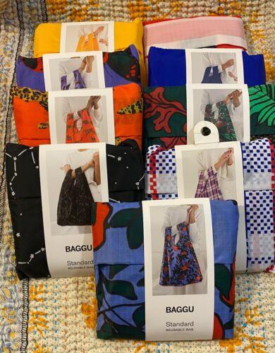 BAGGU Eco Recycled Nylon STANDARD Animal Fruit Striped Print Travel Tote Bag