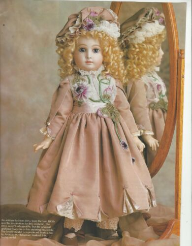 "20-21""ANTIQUE FRENCH JUMEAU DOLL DRESS/RIBBON ROSES LACE TRIM PATTERN GERMAN"