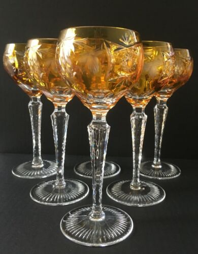 """Set of Six Nachtmann 6 7/8"""" cut to clear Traube  Amber/Gold Crystal Wine Glasses"""