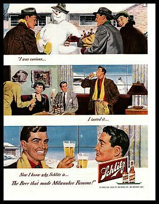 1950 Schlitz Beer Snowman Scarves Winter Holidays Christmas Vintage Print Ad