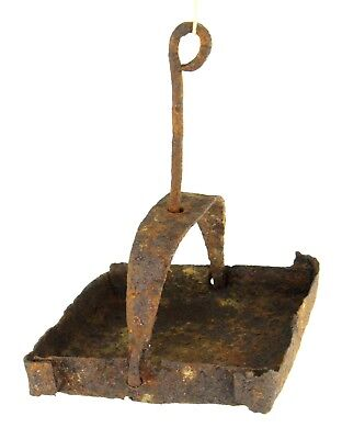 ! Antique Late Medieval Betty Grease Lamp Hand Hammered Wrought Iron Hanging