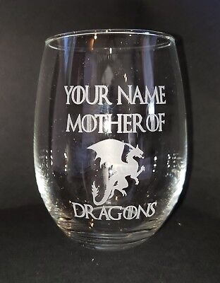 Personalized Game of Thrones stemless wine glass -Mother of Dragons - Stemless Wine Glasses Personalized