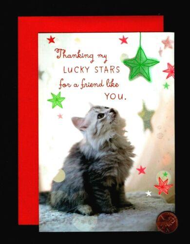 Christmas Cat Kitten Star Ornaments - GLITTERED - Greeting Card New W/ TRACKING