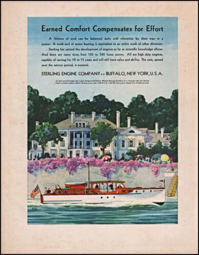 1933 Sterling Engine Company Bridge Deck Cruiser Yacht vintage art print ad XL3