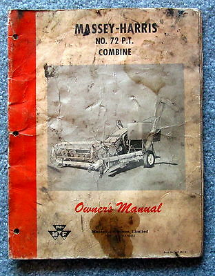 Massey Harris No. 72 Pull-type Combine Owners Manual J3536-5500-4-59 Ldnc
