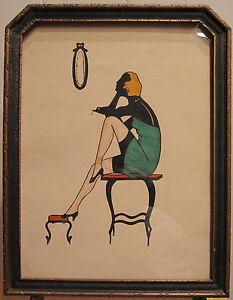 ART-DECO-FLAPPER-GIRL-ERA-ANTIQUE-FRAMED-ART-ARTWORK-PINUP-BLONDE-DRESS-VANITY