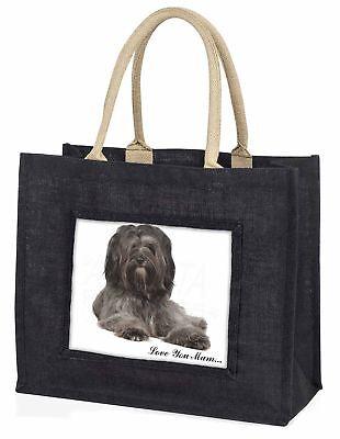 Tibetan Terrier 'Love You Mum' Large Black Shopping Bag Christmas , AD-TT2lymBLB