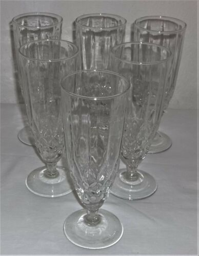 6- TEA/WATER GLASSES ON SHORT PEDESTAL HAS CRISS-CROSS W/PANELL LOOK