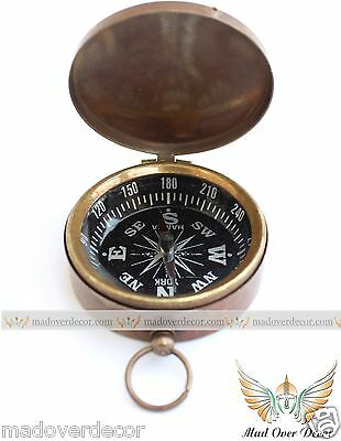 VINTAGE ANTIQUE STYLE SOLID BRASS 2'' POCKET COMPASS MARITIME CAMPING N HIKING