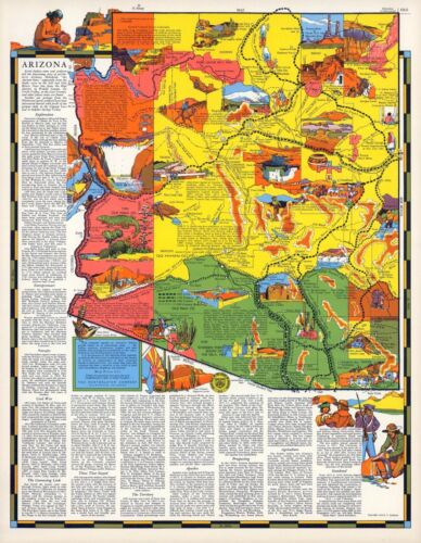 1939 ARIZONA state pictorial map history folklore whimsical POSTER Aitchison