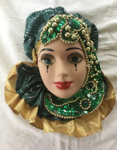 """HAND PAINTED PORCELAIN/CERAMIC LADY'S FACE WALL HANGING BEADS & SEQUINS 9"""" x 7"""""""