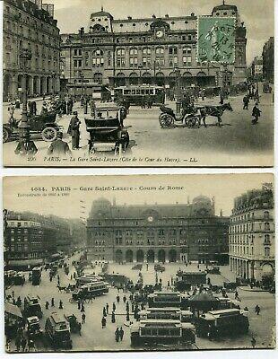 CPA - Lot de 2 Cartes Postales - France - Paris - Gare Saint Lazare (I10496)