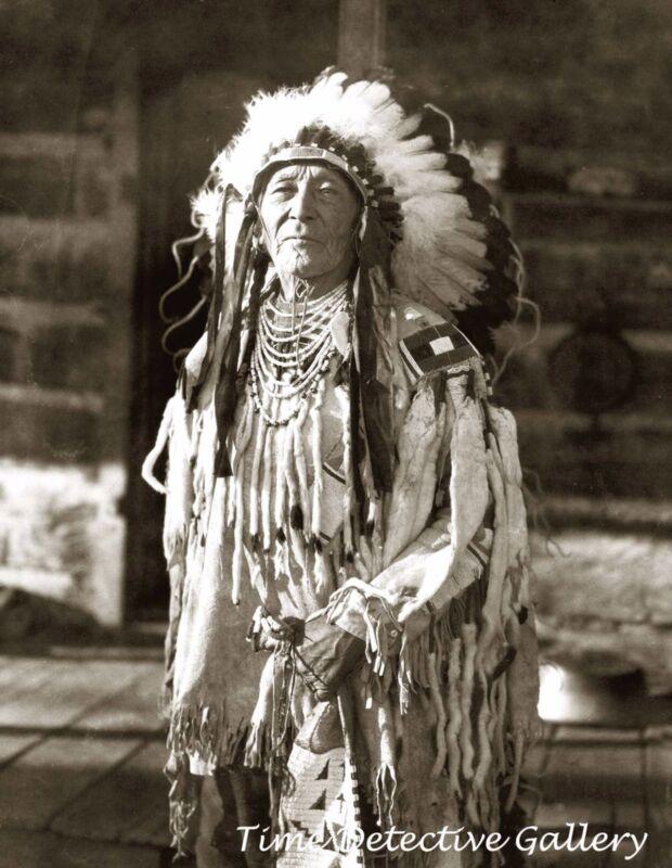 Native American Man in Full Ceremonial Dress - Historic Photo Print