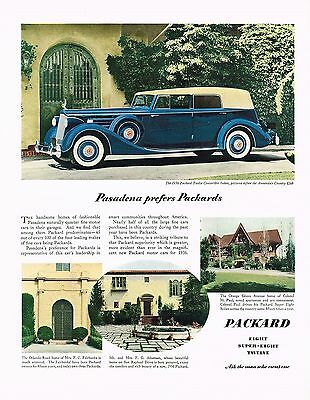 Used, 1936 BIG Original Vintage Packard Twelve Convertible Sedan Car Photo Print Ad for sale  Shipping to United States