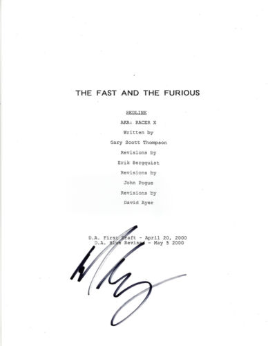 MICHELLE RODRIGUEZ SIGNED 'THE FAST AND THE FURIOUS' MOVIE SCRIPT SCREENPLAY COA
