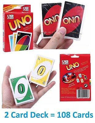 Standard 108 UNO Playing Cards Game Family Friend Travel Instruction Fun Toy