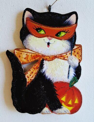 BLACK CAT w COSTUME MASK & JOL PUMPKIN * Glitter HALLOWEEN ORNAMENT * Vtg Img
