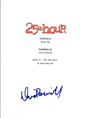 David Benioff Signed Autographed 25TH HOUR Movie Script COA VD