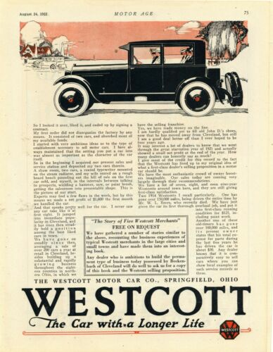 1922 Westcott Motor Car Co. Ad: The Car w/ Longer Life - Springfield, Ohio