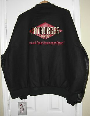 Fatburger Restaurant Letterman Jacket  Black  3Xl  New With Tags