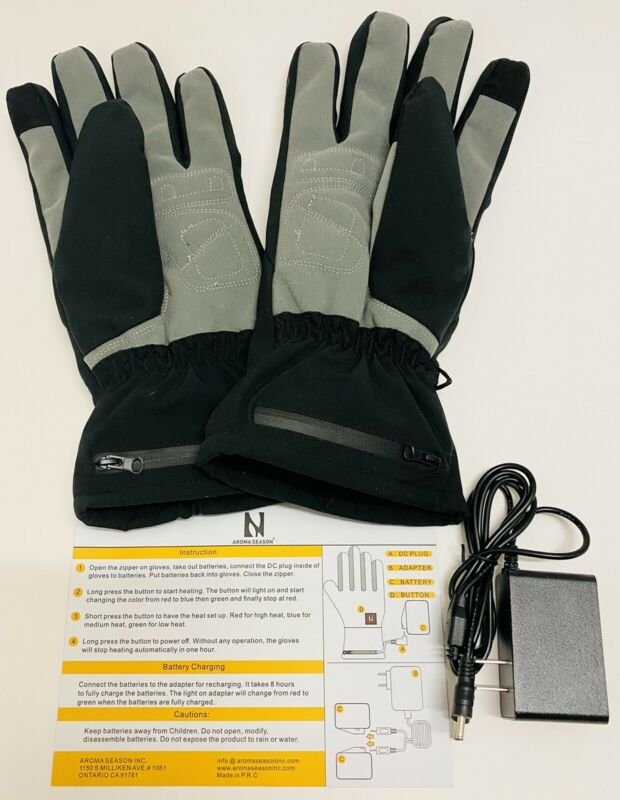 Aroma Season Rechargeable Heated Gloves XXL/XXXL Black/Grey, Waterproof, Unisex
