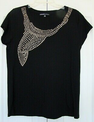 EYE-CATCHING BLACK KNIT TOP WITH METALLIC ACCENTS by CHAUS SPORT, SZ (Eye Catching Stretch Knit)