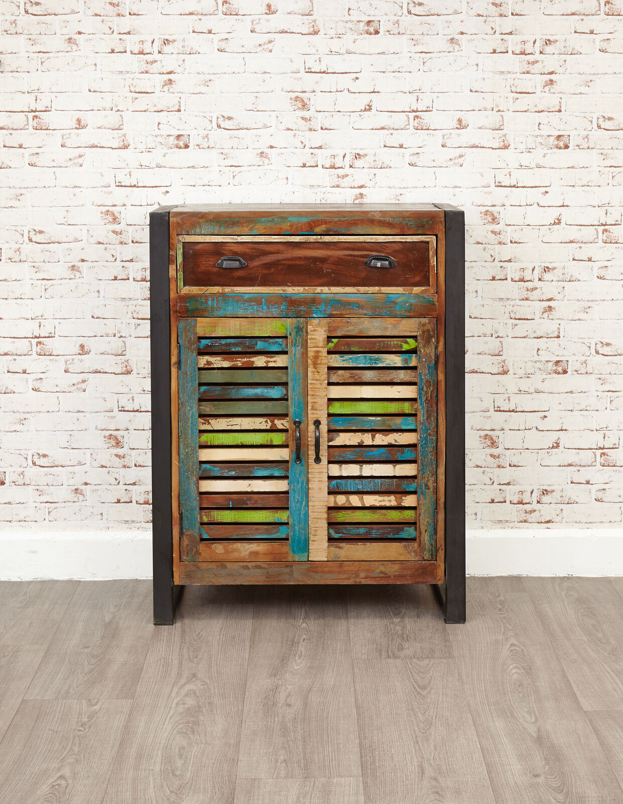 Details About Urban Chic Reclaimed Wood Shoe Cabinet Unit Storage Steel Frame