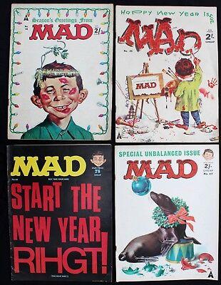 UK Mad Magazine 47 48 49 & 60 lot of 4 fn+1964/66 Silver Age B&W SEASONAL COVERS