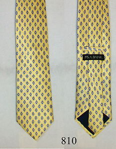 Jos A Bank NEW XL Mens Silk neck tie Yellow w Multi Color Geometric Jacquard 810