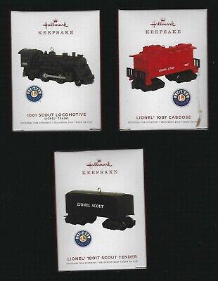 2019 Hallmark Ornament LIONEL SCOUT TRAIN Set of 3 Locomotive Caboose Tinder NIB