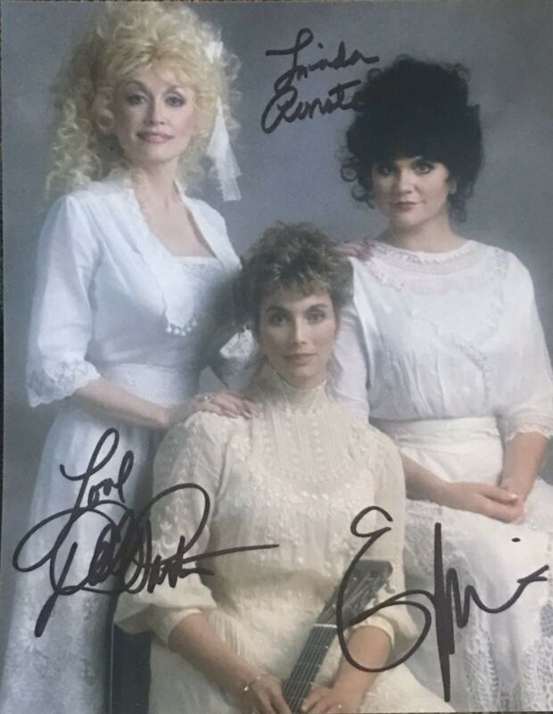 Dolly Parton , Linda Ronstadt & Emmylou Harris signed Autographed RARE !!