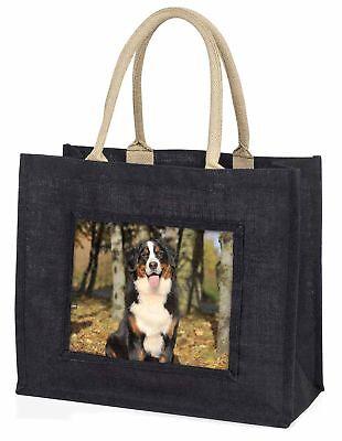 Bernese Mountain Dog Large Black Shopping Bag Christmas Present Idea, AD-BER7BLB