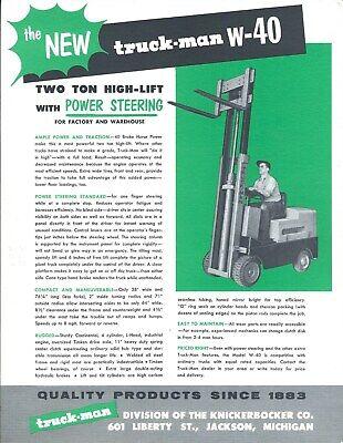 Fork Lift Truck Brochure - Truck-man - W-40 - Two 2 Ton High Lift C1956 Lt365