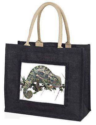 Chameleon Lizard Large Black Shopping Bag Christmas Present Idea      , AR-L5BLB