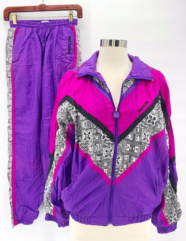 Vtg WHITE STAG Womens 80s 90s Windbreaker Track Suit Purple Pink Colorblock Sz S