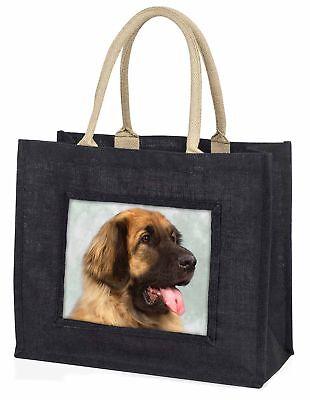 Blonde Leonberger Dog Large Black Shopping Bag Christmas Present Idea, AD-LE1BLB