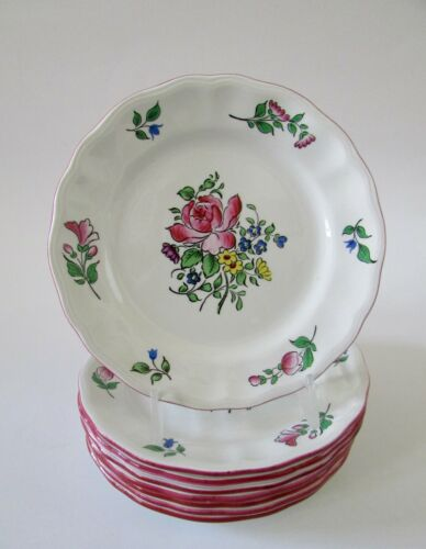 "Luneville France Old Strasbourg 5.5"" Bread & Butter Plates Set 8"