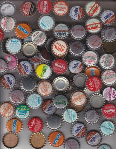 100  ASSORTED BOTTLE CAPS  COKE, COKE CLASSIC CORK CAPS ORANGE FANTA GRAPE  ETC