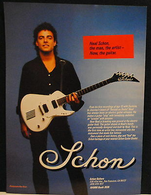 1986 Neal Schon of Journey plays a Schon electric guitar photo print ad