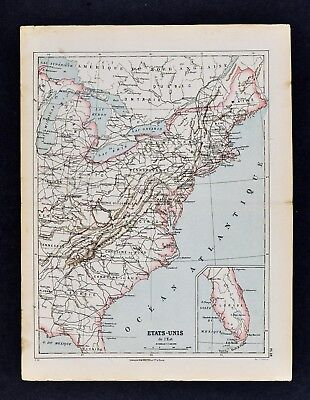 1885 Cortambert Map -  Eastern United States  New York Florida Carolina Virginia