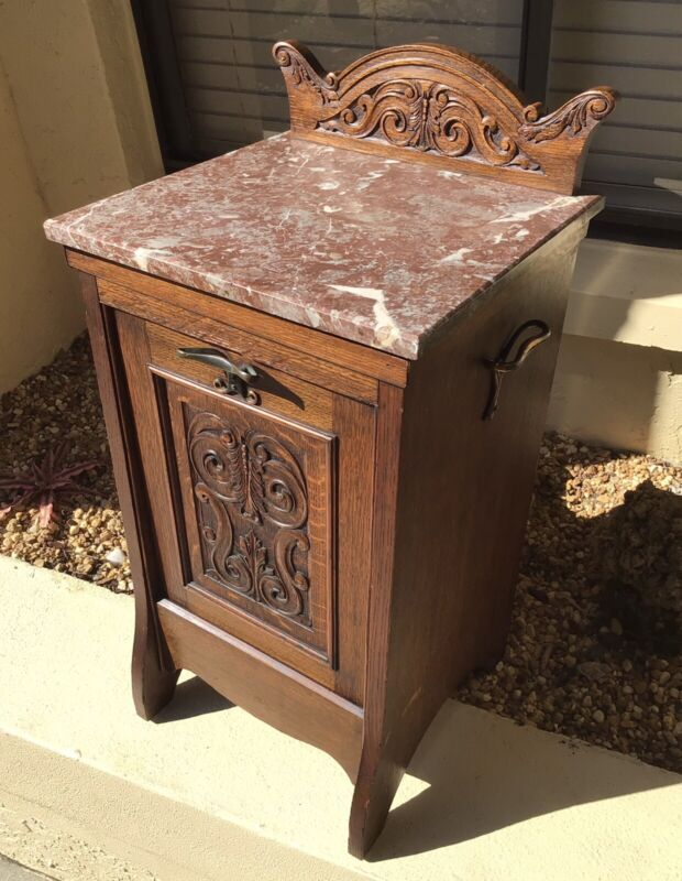 RARE VICTORIAN MARBLE BURL WALNUT HALF COMMODE NIGHTSTAND END TABLE w PULLOUT
