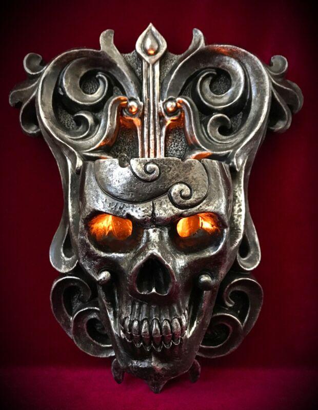 Skull Wall Sconce Candle Holder - Tealight Skulls - Gothic Halloween Decor