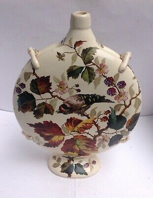 LARGE POTTERY MOON FLASK HANDPAINTED IN THE AESTHETIC MOVEMENT TASTE