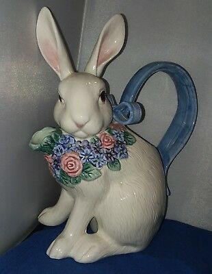 Vintage 1993 Fitz and Floyd Bunny Floral Blue Watering Can Ceramic Teapot