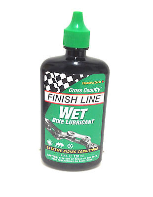Finish Line Wet Cross Country Bike Bicycle Chain Lube 4Oz