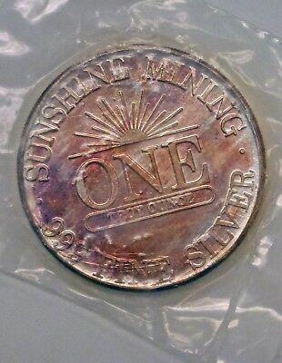 Bjstamps  1984 Sunshine Mining 1 Ozt  999 Silver Round Sealed Rainbow Toned
