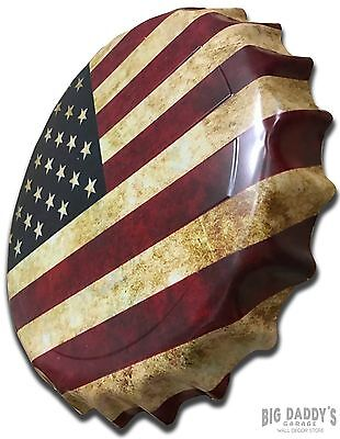 American Flag (USA) Bottle Cap Metal Sign Patriotic Decor Embossed Stars Stripes - Flag Decorations