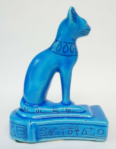 BASTET CAT STATUE FIGURINE Made in Egypt by Discoveries TURQUOISE BLUE Vintage